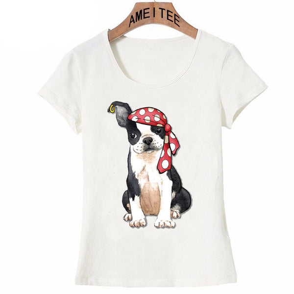 Funny Women's Boston Terrier Pirate T-Shirt