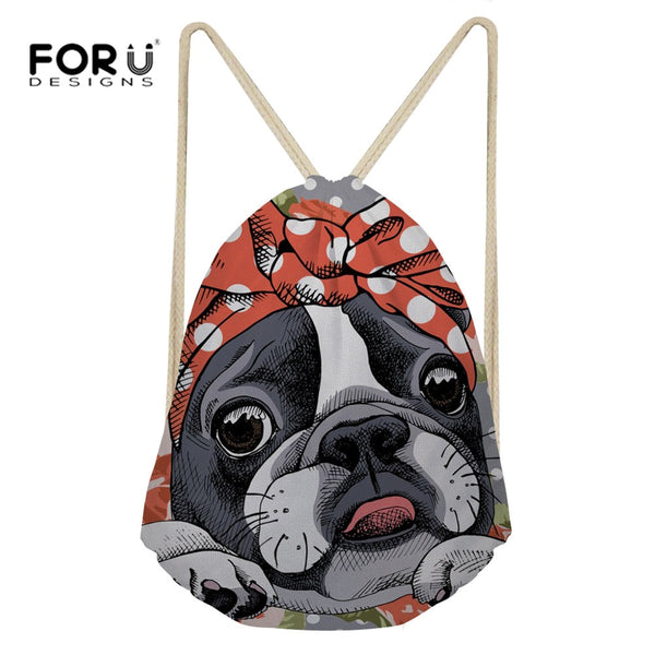 Cute Boston Terrier in a Bandana Drawstring Bag