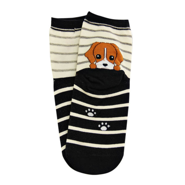 Cute Striped Boston Terrier Socks