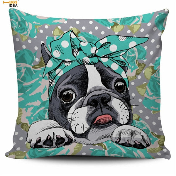Adorable Floral Boston Terrier Pillowcase
