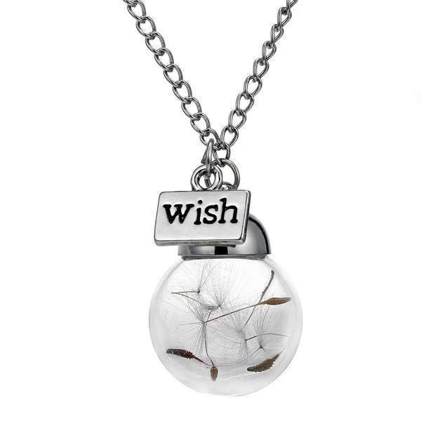 Spring Sale! Glass Bottle Necklace with Natural Dandelion Seed - Make A Wish