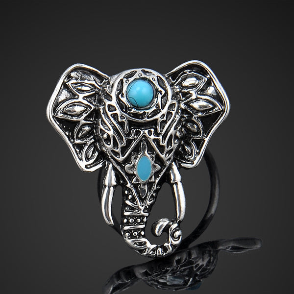 Adjustable Vintage Silver Plated Elephant Ring