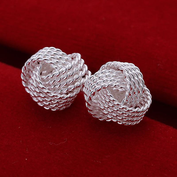 Silver Plated Twisted Net Earrings