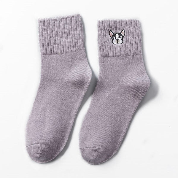 Cute Embroidered Boston Terrier Socks