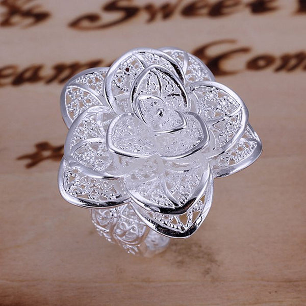 Silver Plated Adjustable Flower Ring