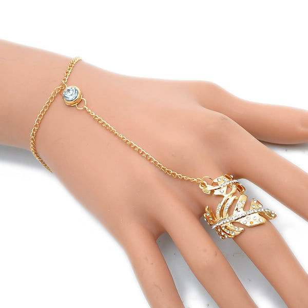 Gold or Silver Plated Slave Chain Finger Ring - Leaf Pattern