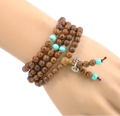 6mm Natural Sandalwood Meditation Mala Bead Bracelet