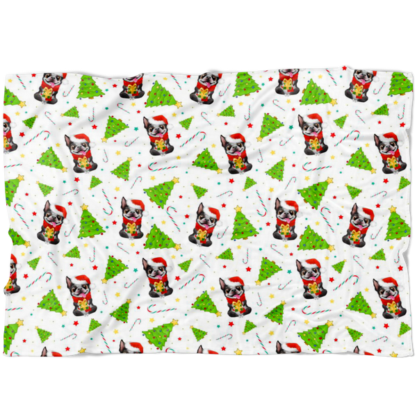 Christmas Boston Terrier Fleece Blanket