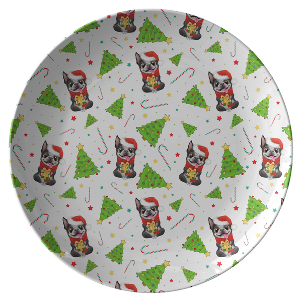 Festive Boston Terrier Christmas Plate