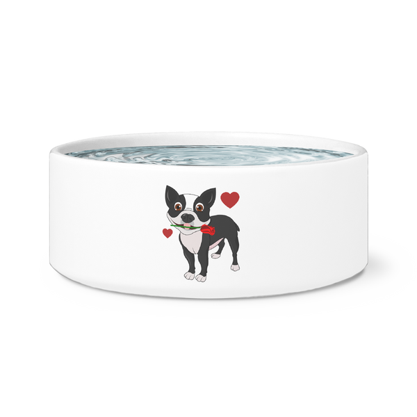 "Cute Ceramic ""Boston Terrier in Love"" Bowl"