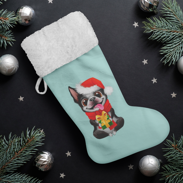 Festive Boston Terrier Christmas Stocking (Aqua)
