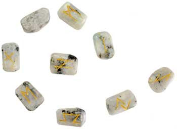 White Rainbow Moonstone Rune Set