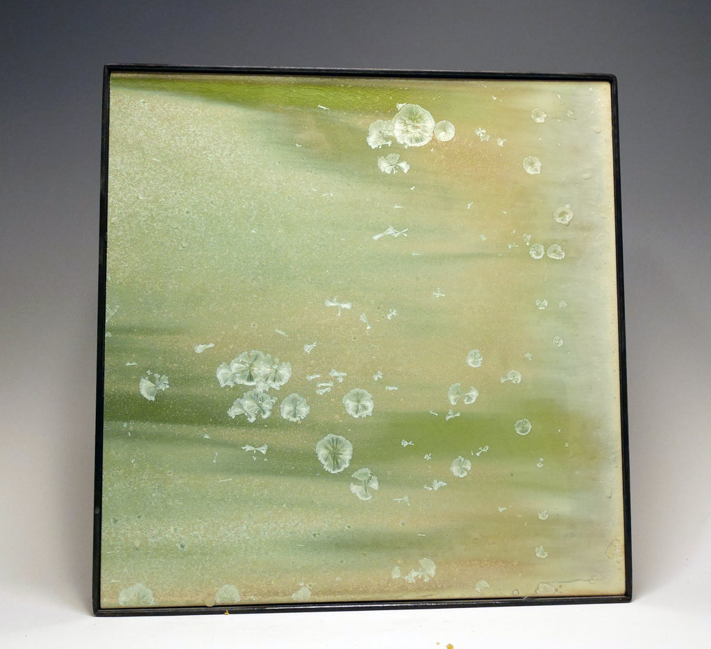 Crystalline green metal framed tile