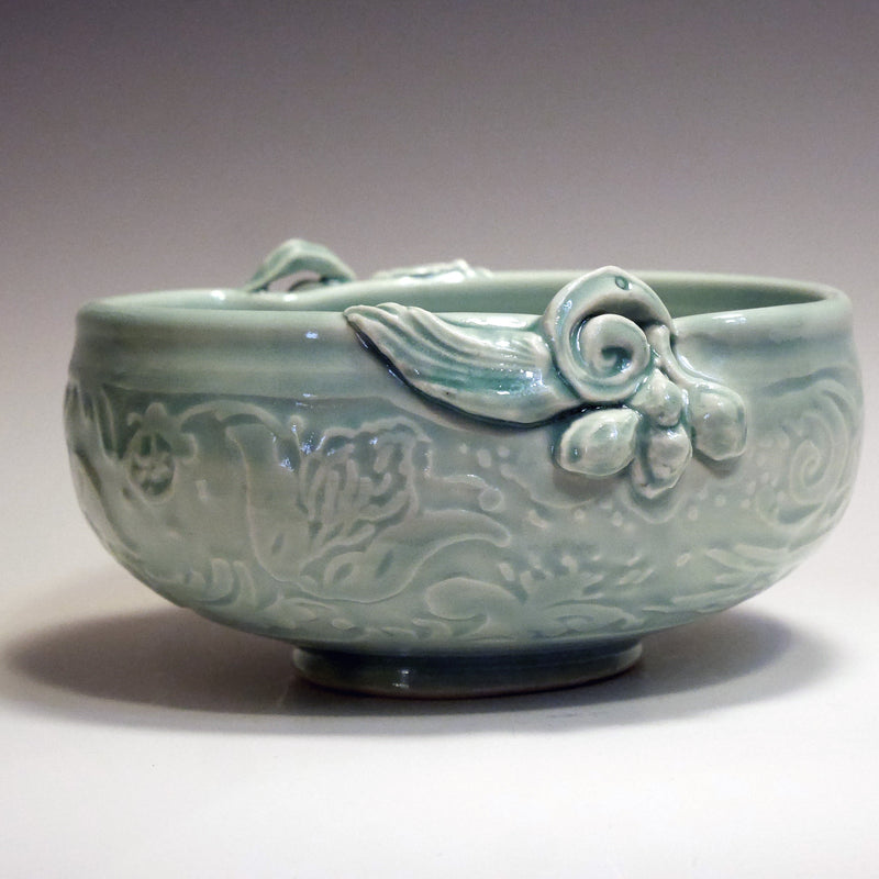 Birds, translucent porcelain bowl, water etched