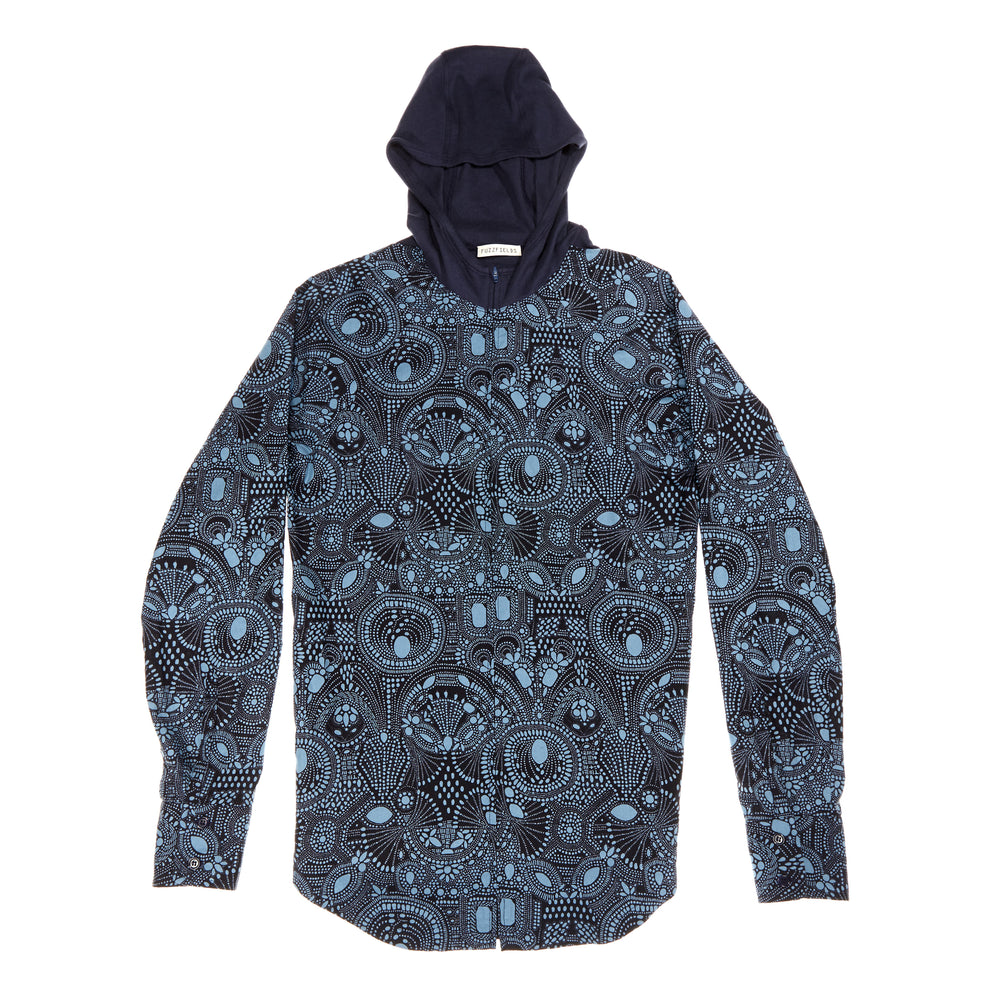 Navy Ornament print zip hoodie. Ethical clothing and sustainable streetwear certified organic cotton