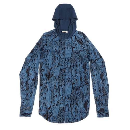 Blue Jungle print zip hoodie: Organic cotton sustainable streetwear