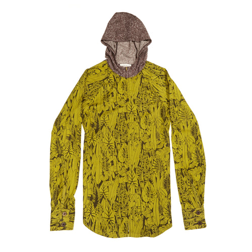Jungle print zip hoodie: Sustainable and ethical fashion in organic cotton and hemp jacket.