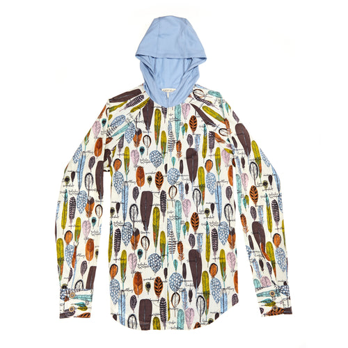 Feather Print Zip Hoodie: Organic Cotton