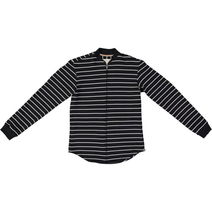 BLACK AND WHITE STRIPE BOMBER SHIRT, NOW AVAILABLE IN WOMEN'S