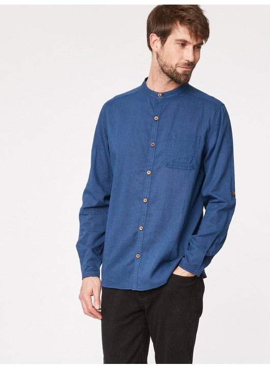 THOUGHT LONG SLEEVE GRANDFATHER SHIRT WITH BAND COLLAR IN CHAMBRAY