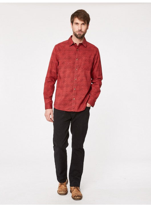 THOUGHT ORGANIC COTTON AND HEMP RED LOMOND LONG SLEEVE SHIRT