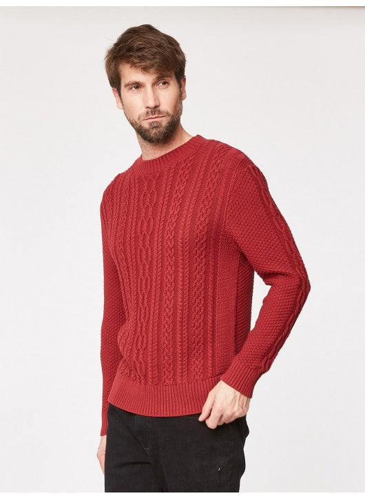 THOUGHT RED ORGANIC COTTON CABLE KNIT WINTER SWEATER