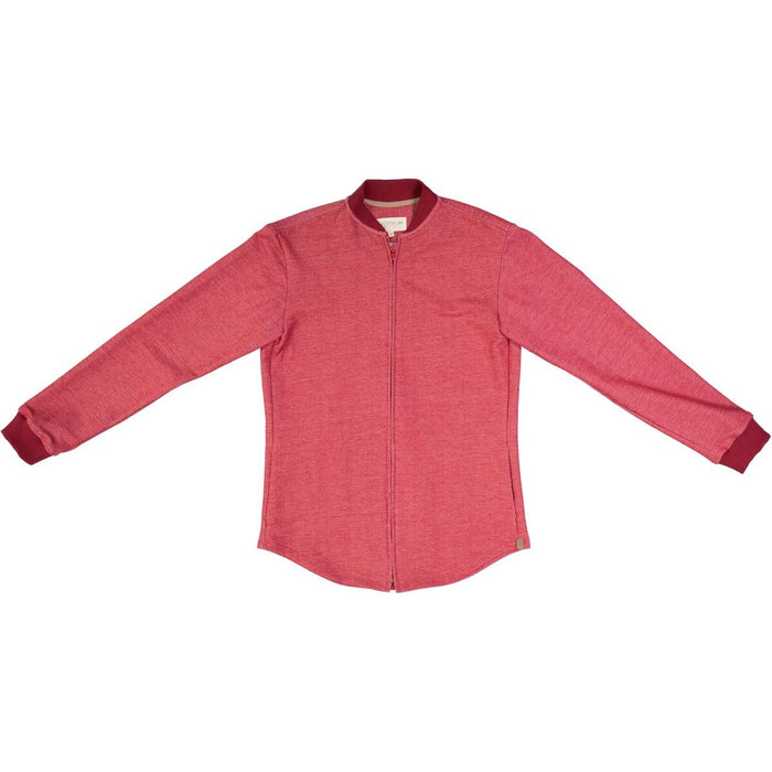 RED DENIM EFFECT BOMBER SHIRT, NOW AVAILABLE IN WOMEN'S