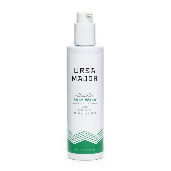 URSA MAJOR CITRUS RIOT BODY WASH: Bright, zesty citrus spiked with ginger, vetiver, cedar and fir