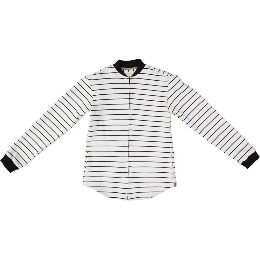 WHITE AND BLACK STRIPE BOMBER SHIRT, NOW AVAILABLE IN WOMEN'S