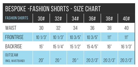 Fashion Short Chart