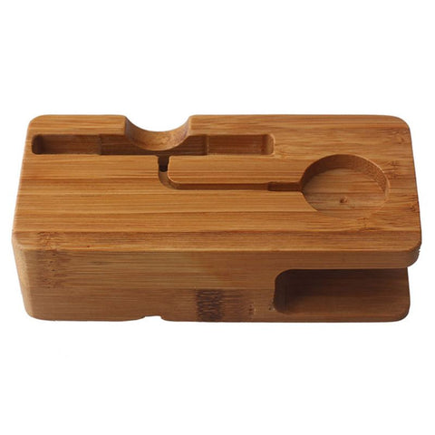 Natural Bamboo Charging Holder Stand for iWatch and iPhone Charging Dock Cradle Stand Holders
