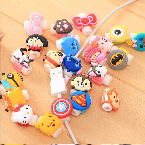 Cartoon Cable Protector Data Cord Protector Protective Case Cable Winder Cover iPhone USB Charger