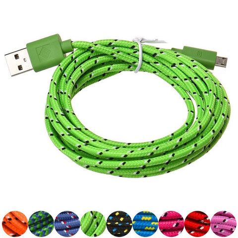1M/2M/3M Braided Micro USB 3ft Nylon Woven Charger Cords For Samsung Galaxy S3 S4 S6 Blackberry SONY