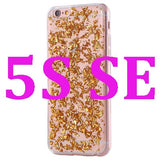 Gold Paillette Sequin Skin Clear Soft Rubber Back Cover Cases Case For iPhone 6 7 6s 5 5s SE
