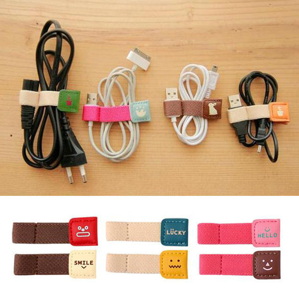 Cartoon Button Type Earphone Headphone Wire Winder Cable Ties Earphone Cord Organizer Wrap Cable