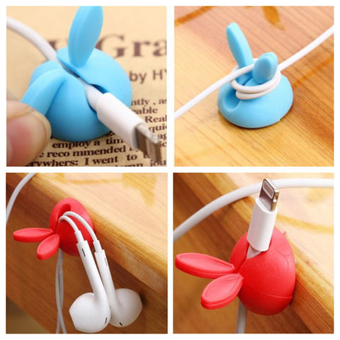 Cute Cartoon Earphone Headset Cable Wire Wrap Cord Holder Winder Organizer