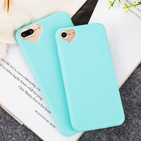 Candy Soft Ultra Thin Cases iPhone 7 7Plus Heart Shape Camera hole silicone Cover With Dust Plug