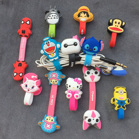 Cartoon Cable Organizer Bobbin Winder Protector Wire Cord Holder Cover Earphone iPhone Samsung USB