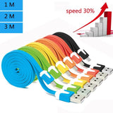 1m/2m/3m Universal Android Noodle Micro USB 2 Data Sync Charger Cable Colorful Flat Samsung HTC LG