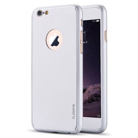 Luxury Full Body Protection Cover Cases iPhone 6 6s 7 Plus Tempered Glass For iPhone 6S Case Logo