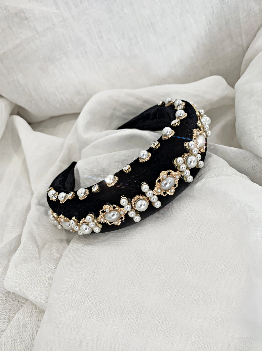 THE BEJEWELLED HEADBAND - BLACK