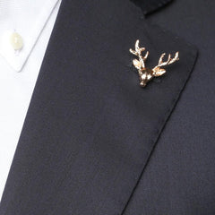 Pure Gold Reindeer Collar Pin