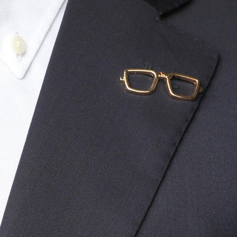 Gold Spectacles Collar Pin
