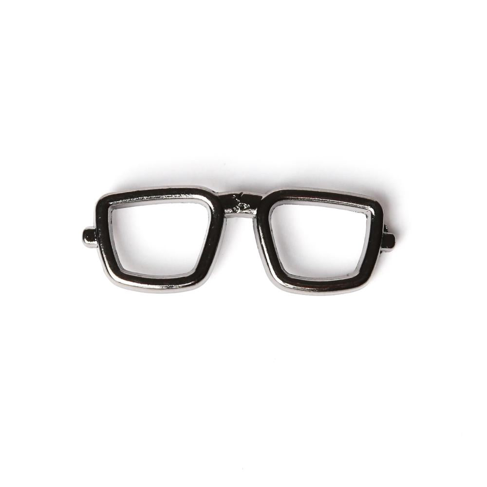 Black Chrome Spectacles Collar Pin