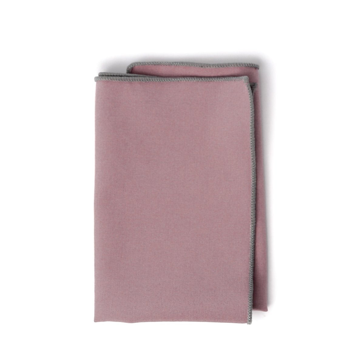 Mauve with Gray Stitch Pocket Square
