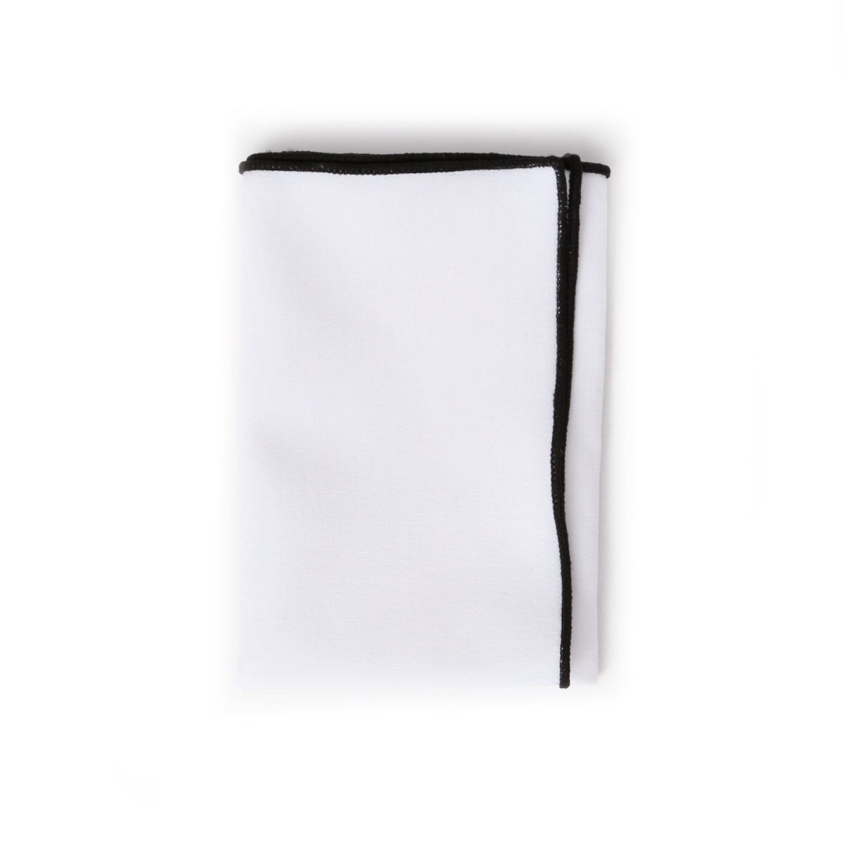 White with Black Stitch Pocket Square