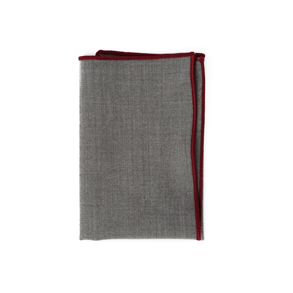 Steel Gray with Maroon Stitch Pocket Square