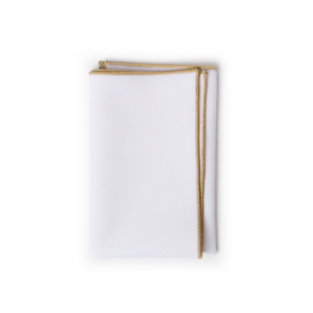 White with Champagne Stitch Pocket Square