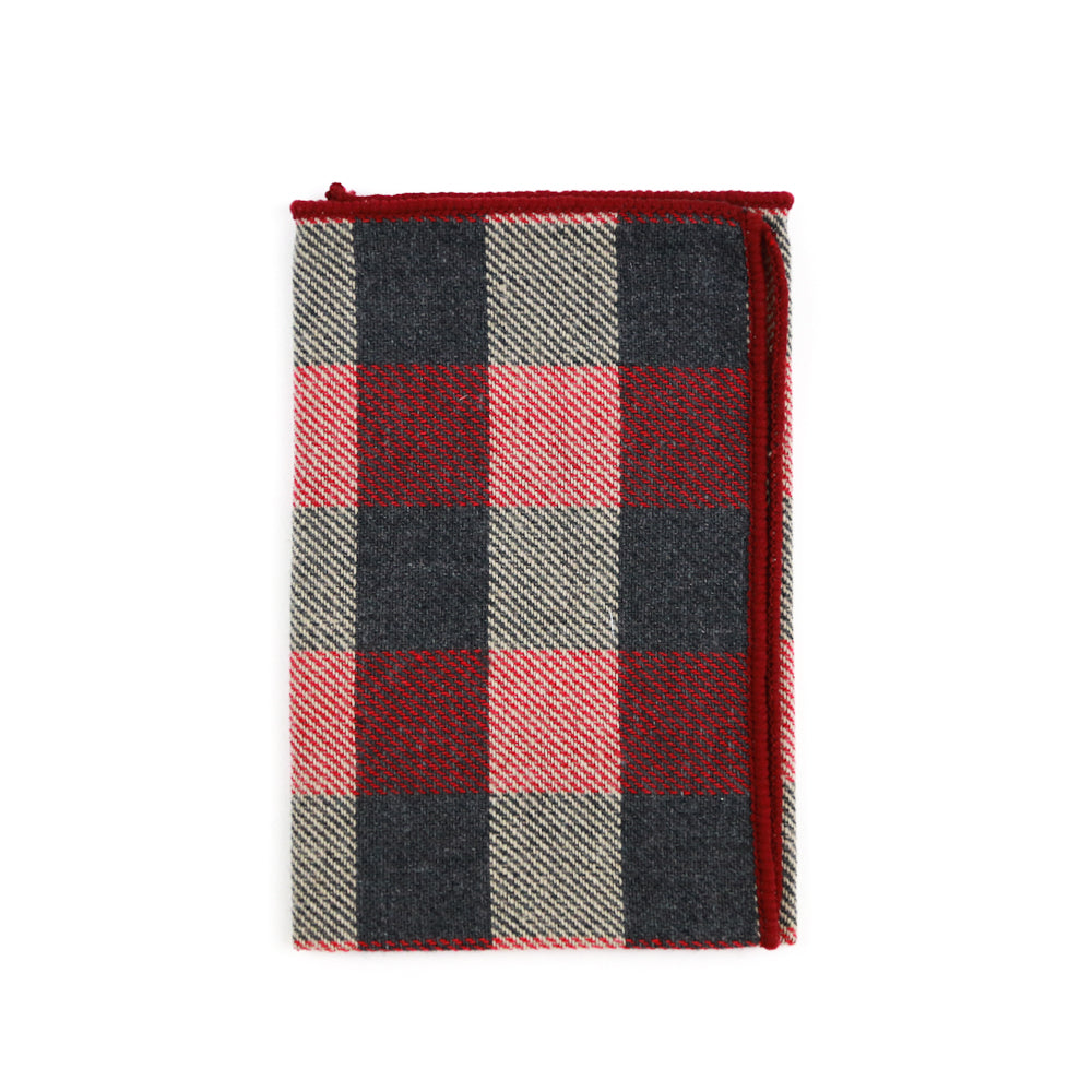 Maroon Plaid Pocket Square