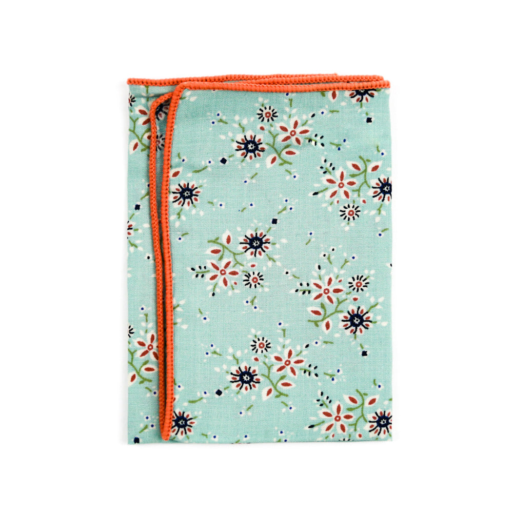 Mint Floral Pocket Square
